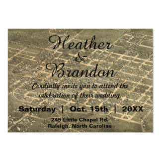Rustic Vintage Raleigh NC Map Wedding Invitation