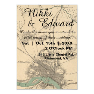 Rustic Vintage Richmond VA Map Wedding Invitation