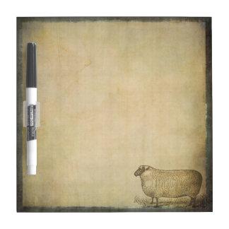 Rustic Vintage Sheep   Barnyard Farm Animals Dry Erase Board