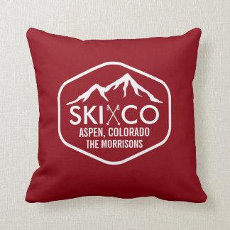 Rustic Vintage Ski Mountain & Poles Aspen Colorado Throw Pillow