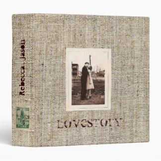 Rustic  vintage stamps burlap country Wedding Binder
