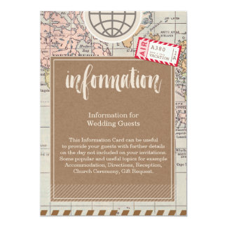 Rustic vintage travel Wedding Information Card