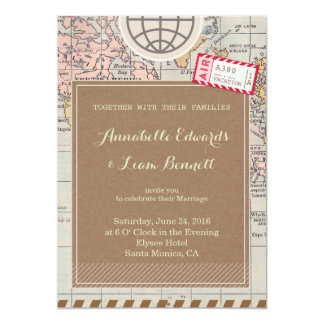 Rustic vintage travel Wedding Invitation Card