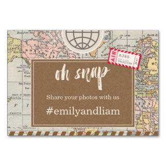 Rustic vintage travel Wedding Social Media Card Table Cards