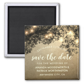 Rustic Vintage Tree Wedding Save the Date Magnets