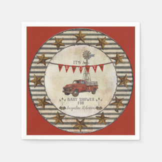 Rustic Vintage Truck Farmhouse Star Baby Shower Disposable Napkins