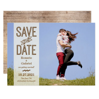 Rustic Vintage Typography Photo Save the Date Card