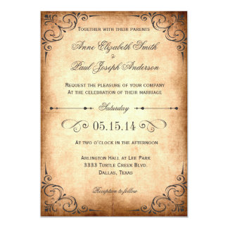 Rustic vintage wedding invitation
