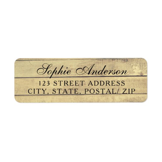 Rustic vintage wedding return address labels