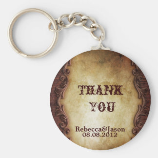 rustic vintage western country wedding favor basic round button keychain