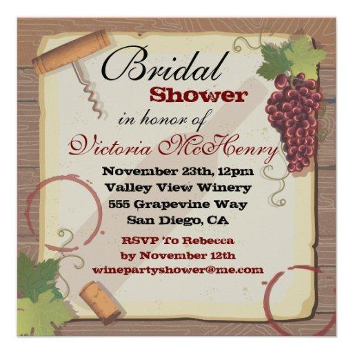 Rustic Vintage Wine Tasting Bridal Shower Custom Announcement