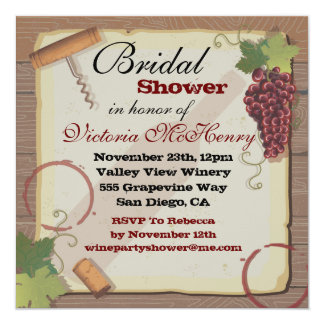 Rustic Vintage Wine Tasting Bridal Shower 5.25x5.25 Square Paper Invitation Card