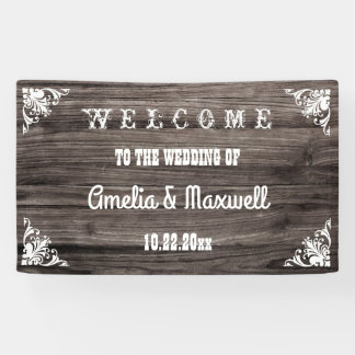 Rustic Vintage Wood Country Wedding Welcome Banner