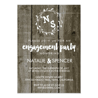 Rustic Vintage Wood Engagement Party Invitations