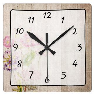 Rustic Vintage Wood Floral Clock