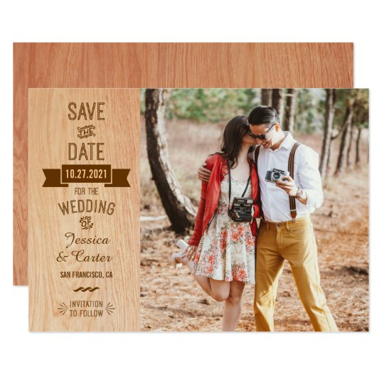 Rustic Vintage Wood Typography Photo Save the Date Card