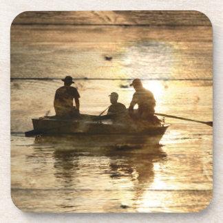 Rustic vintage woodgrain country canoeing fishing drink coaster