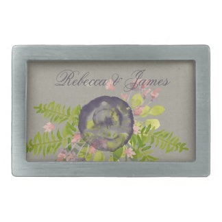 RUSTIC VIOLET YELLOW WILD FLOWERS & FERNS MONOGRAM BELT BUCKLES