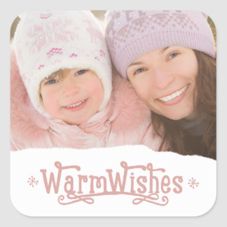 Rustic Warm Wishes | Holiday Photo Stickers