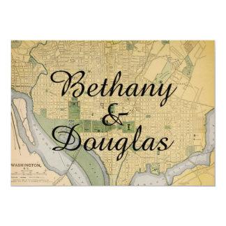 Rustic Washington DC Map Wedding Invitation