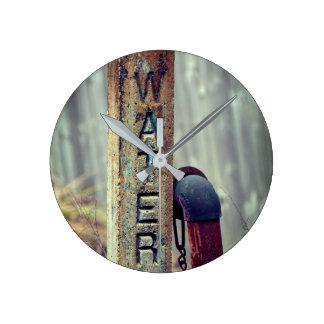 Rustic Water Valve Round Clock