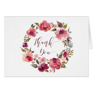 Rustic Watercolor Burgundy Pink Wreath Thank You | Card