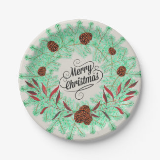 Rustic Watercolor Christmas Wreath and Pine Cones Paper Plate