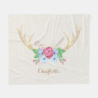 Rustic Watercolor Deer Antlers Flowers Customized Fleece Blanket