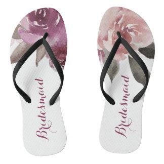 Rustic watercolor floral bridesmaid wedding flip flops