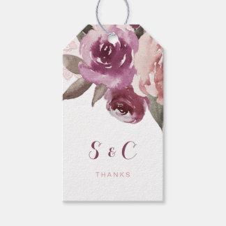 Rustic watercolor floral fall wedding monogram gift tags