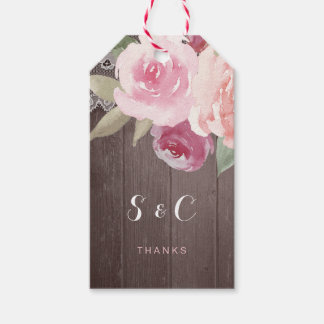 Rustic watercolor floral lace wedding monogram gift tags