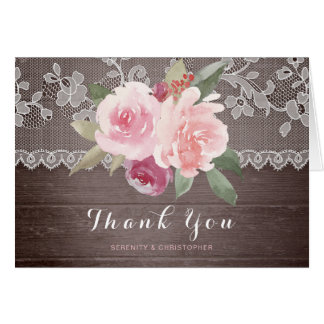 Rustic watercolor floral lace wedding thank you card