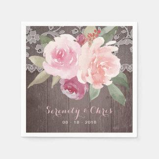 Rustic watercolor floral vintage lace wedding disposable napkins
