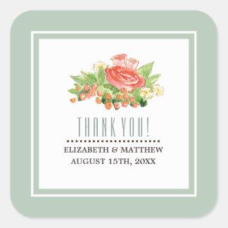 Rustic Watercolor Floral Wedding Favor Stickers
