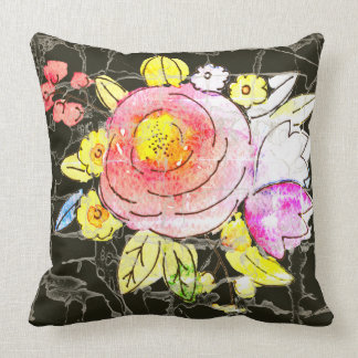 Rustic watercolor flowers with marbling background throw pillow
