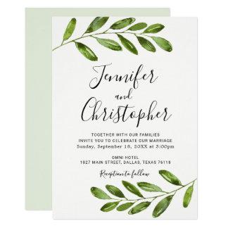 Rustic Watercolor Greenery Wedding Invitations