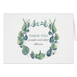 Rustic Watercolor Laurel Wreath Wedding Thank You Card