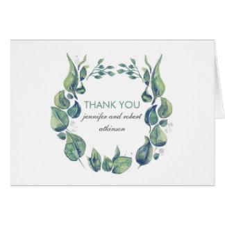 Rustic Watercolor Laurel Wreath Wedding Thank You Note Card