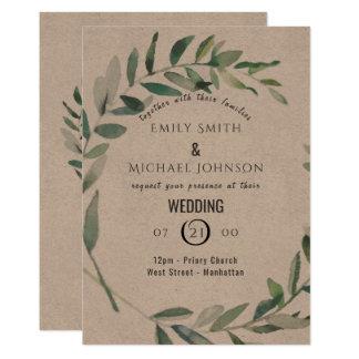 Rustic Watercolor Leaf Kraft Wedding Invitation