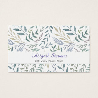 Rustic Watercolor Leaves and Foliage Business Card