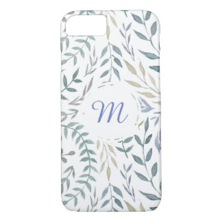 Rustic Watercolor Leaves and Foliage Monogram iPhone 7 Case