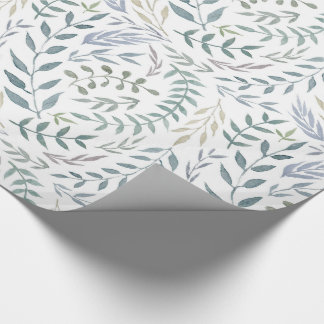 Rustic Watercolor Leaves and Foliage Wrapping Paper