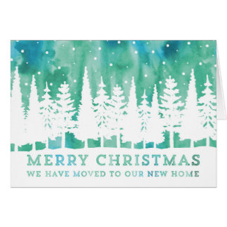 Rustic Watercolor Merry Christmas New Address Card