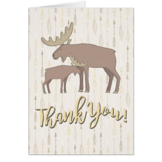 Rustic Watercolor Moose boho Thank you note card