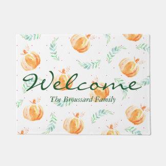 Rustic Watercolor Pumpkins & Laurels Family Name Doormat