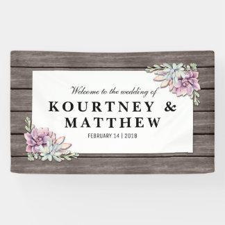 Rustic Watercolor Succulent Floral Wedding Banner