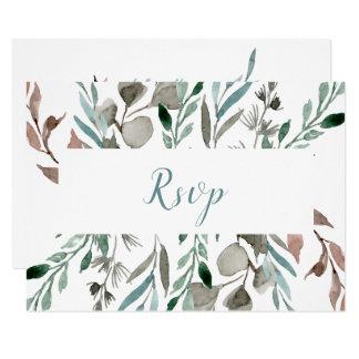 Rustic Watercolor Teal Sage Gray Leaves RSVP Card