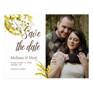 Rustic Watercolor Wildflower Save the Date Postcard