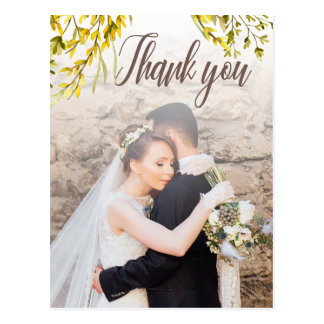Rustic Watercolor Wildflower Thank you Postcard