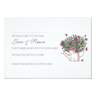 """Rustic Watering Can Floral Wedding RSVP card 3.5"""" X 5"""" Invitation Card"""